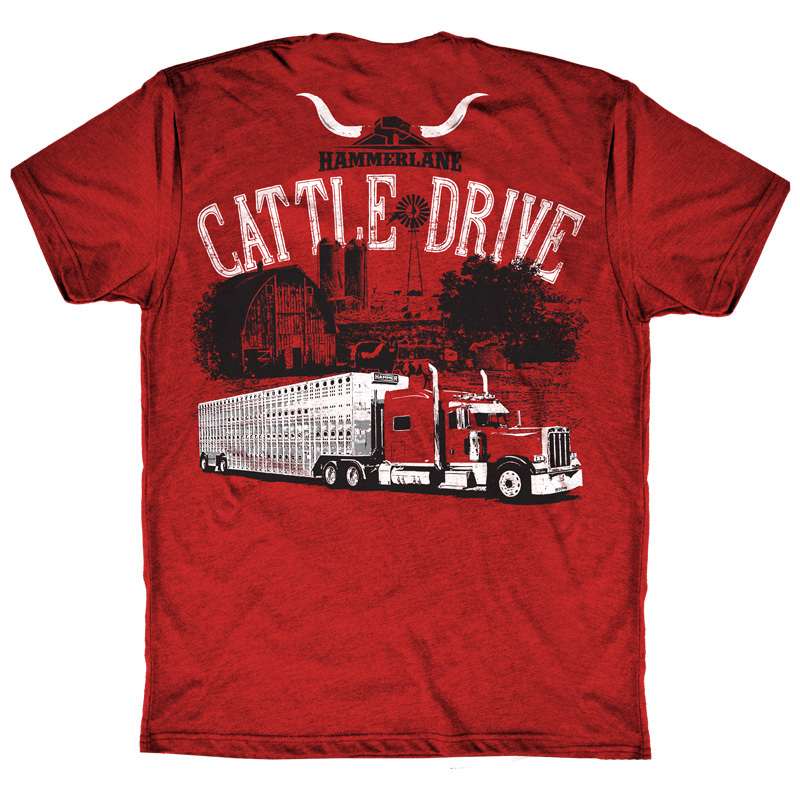 Cattle Drive Hammer Lane Trucker T-Shirt Back