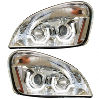 Freightliner Cascadia Chrome Projection Headlight With LED Position Light Bar On