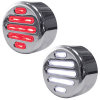 "2"" Round Dual Revolution Flatline Red And White LED Marker Light"
