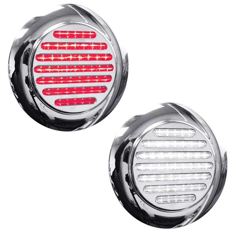 "4"" Round Dual Function Flatline Flange Mount Red And White LED Light"