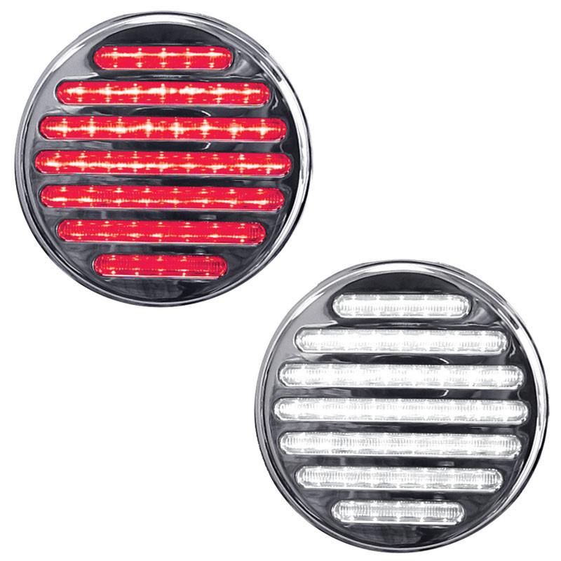 "4"" Round Dual Revolution Flatline Red And White LED Light"