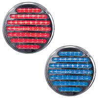 "4"" Round Dual Revolution Flatline Red And Blue LED Light"