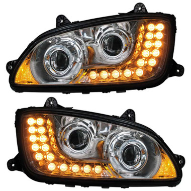 Kenworth T660 T700 Chrome Projector Headlights Raney S