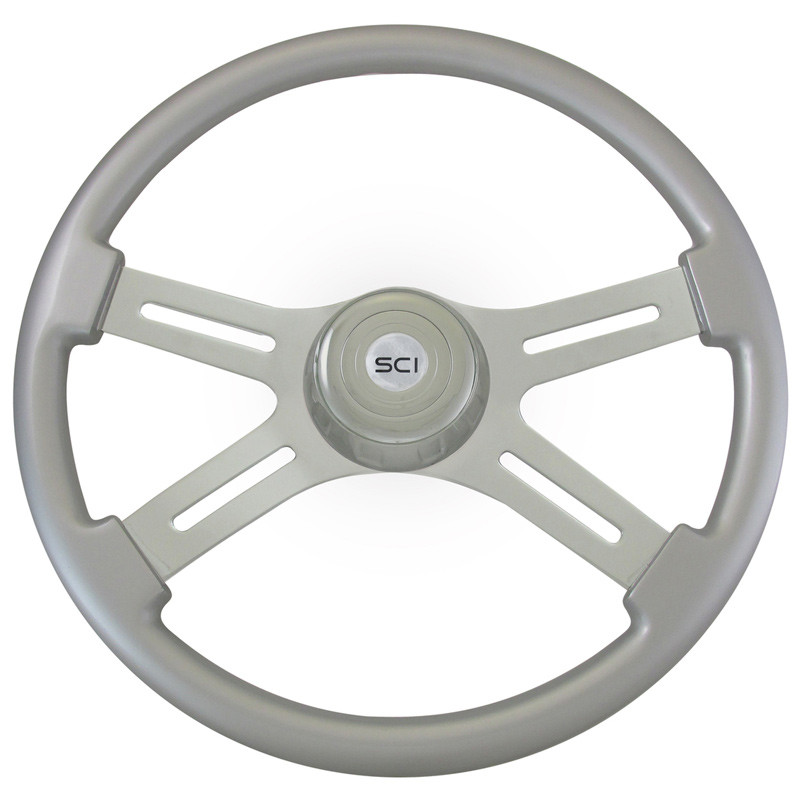 "Classic Silver 18"" Steering Wheel With Chrome Bezel"