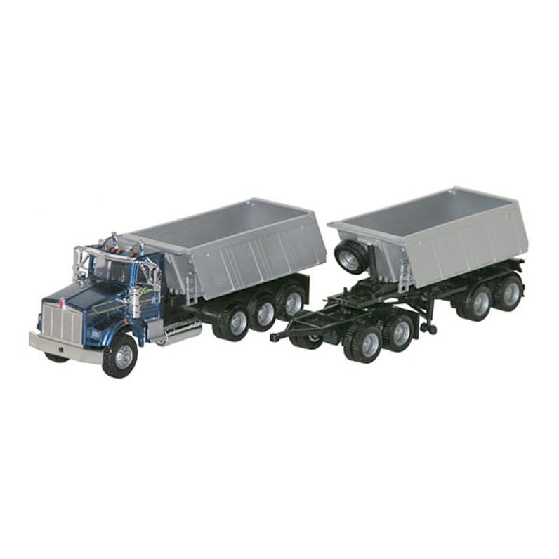 Kenworth T800 Dump Truck With Trailer And Converter Dolly 1/87 Scale