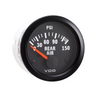 Semi Truck Electrical Rear Air Pressure Gauge Vision Black