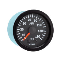 Semi Truck Mechanical Air Pressure Gauge Vision Black