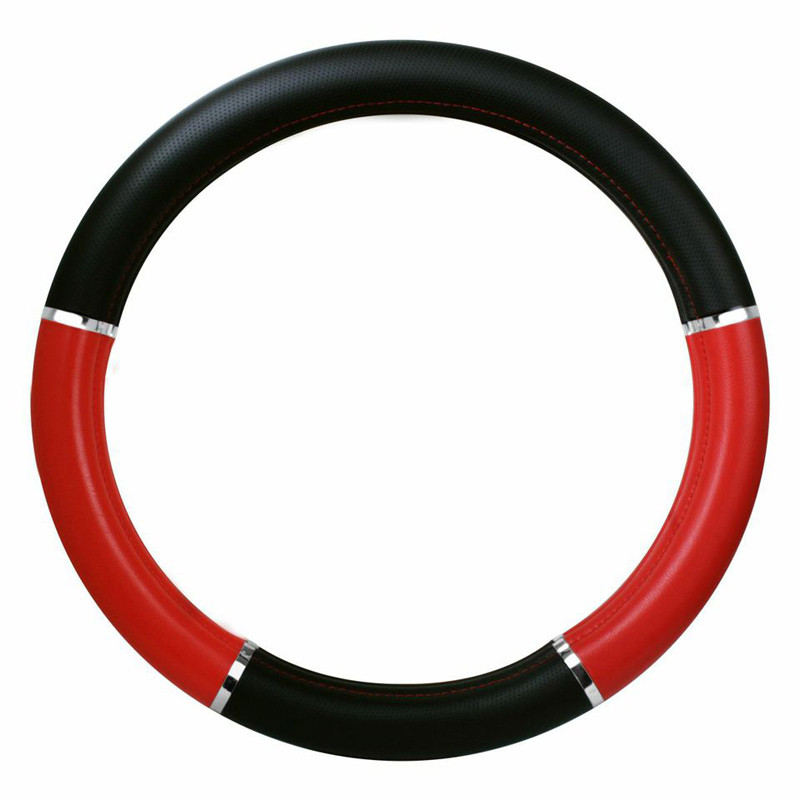 "18"" Red And Black Steering Wheel Cover With Chrome Trim"