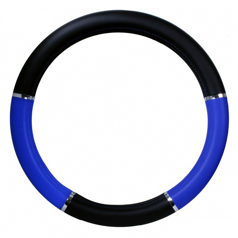 "18"" Blue And Black Steering Wheel Cover With Chrome Trim"