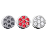 "2"" Round Dual Revolution Red Marker & White Back-Up LED Light"