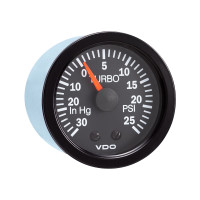 "Semi Truck 30"" Hg Mechanical Turbo Gauge 25 PSI Vision Black"
