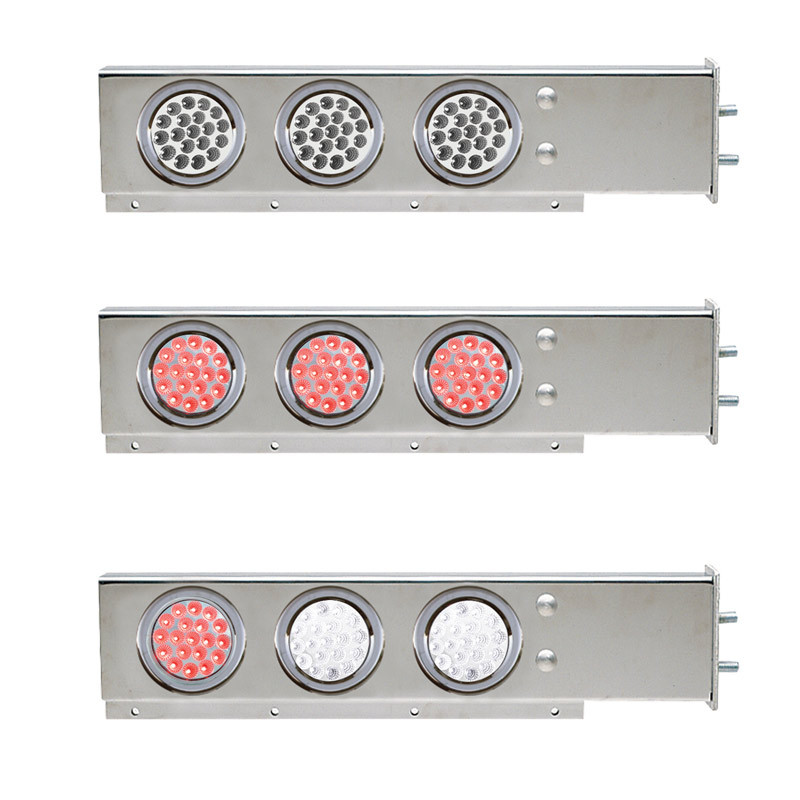 """Mud Flap Hangers With Dual Revolution LED Lights 2 1/2"""" Bolt Spacing"""