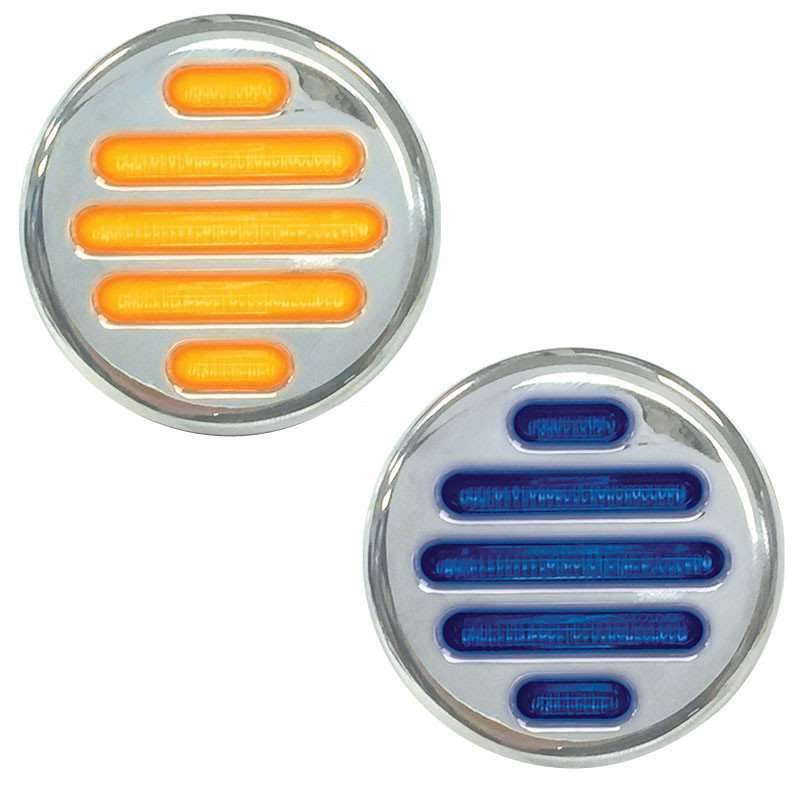 "2"" Round Dual Revolution Flatline Amber And Blue LED Marker Light"