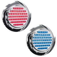 """4"""" Round Dual Revolution Flatline Flange Mount Red And Blue LED Light"""