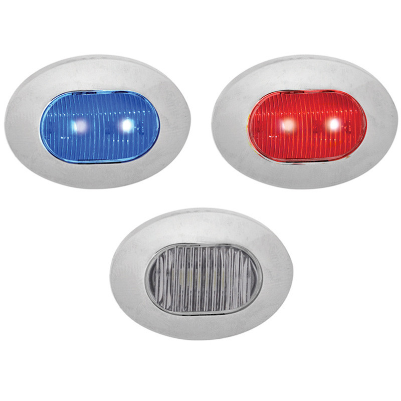 Mini Oval Button Dual Revolution Red And Blue LED Marker Light