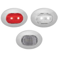 Mini Oval Button Dual Revolution Red And White LED Marker Light