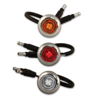 "3/4"" Button Chrome Bezeled LED Lights With Amber, Red, And Clear Lens."