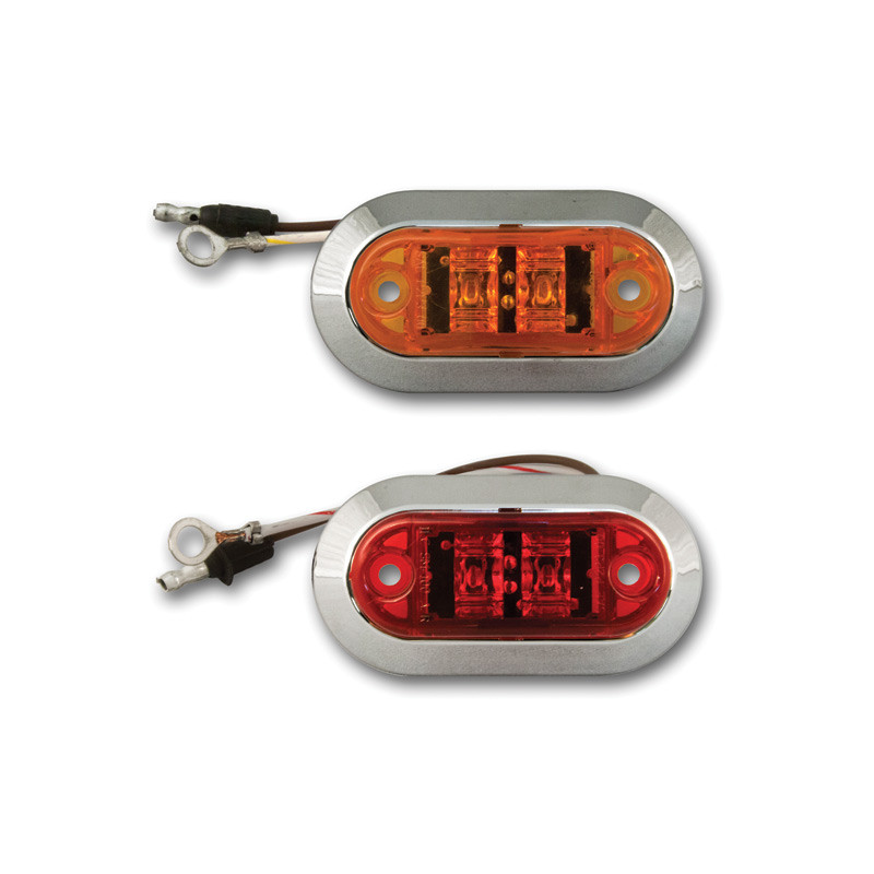 2 Challenger Oval LED Lights with Chrome Bezels with Amber and Red Lenses.