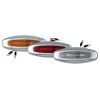 Crew LED Chrome Bezeled Lights With Amber, Red, And Clear Lenses.