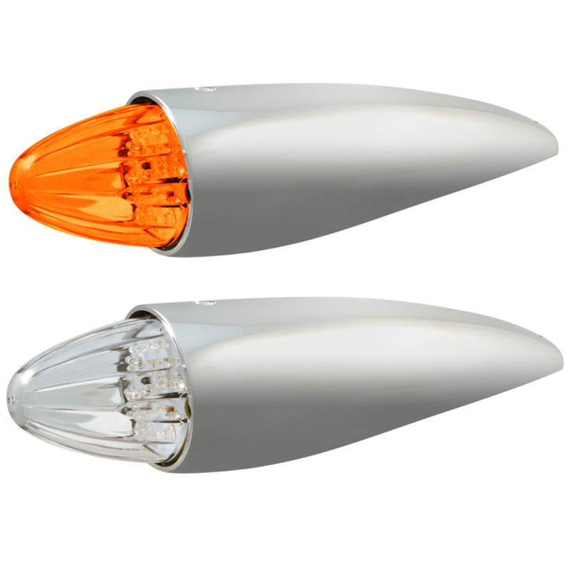 Two 19 Diode Amber LED Torpedo Cab Lights with Amber and Clear Lenses