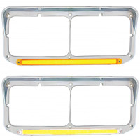Rectangular Dual Headlight Bezel With Visor & GLO LED Lights