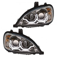 Driver And Passenger Freightliner Columbia Projection LED Headlights 1996 & Newer Lit