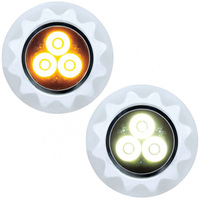 High Power LED Mini Warning Light Amber And White Lit