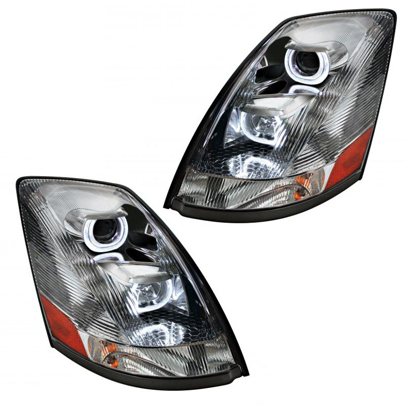 Lit Volvo VNL Chrome Projection Headlights With LED Position Bar 2004 & Newer Side Angle Passenger And Driver