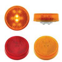 "2 1/2"" Round Clearance Marker 8 Red And Amber LED Light With Reflectorized Red And Amber Lens"