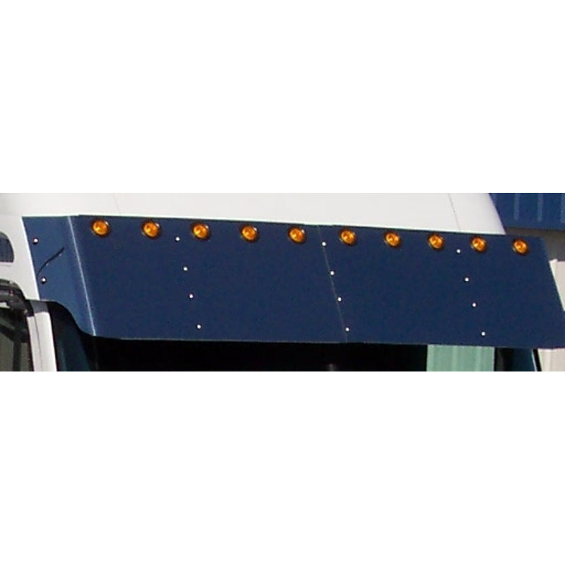 "Freightliner Columbia & Century 18"" Drop Visor With 2"" Light Holes mounted close up"