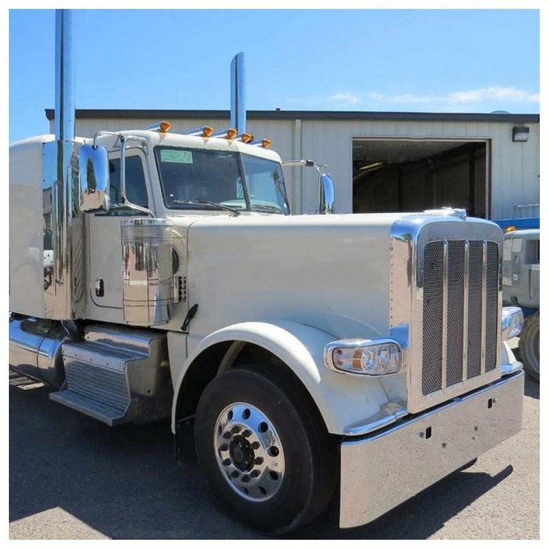 Peterbilt 365 388 389 Rolled End Square Bumper On White Truck Angled