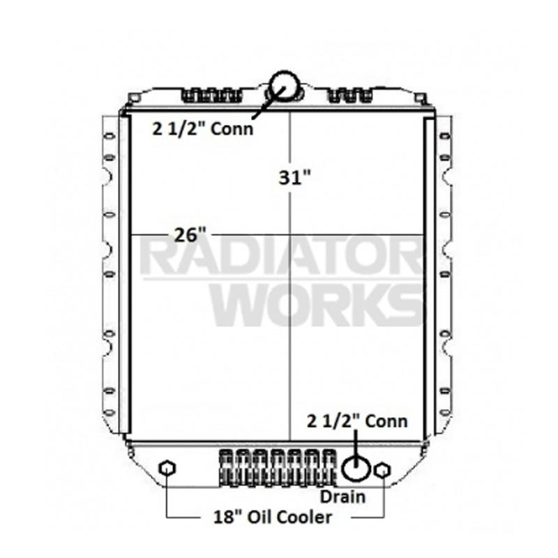 International 2300 3000 4900 Series Radiator With Oil