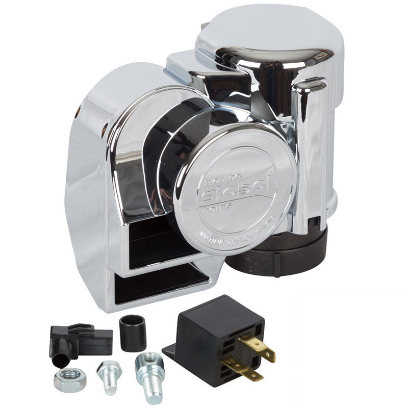 HornBlasters Chrome Dual-Tone Motorcycle Electric Air Horn