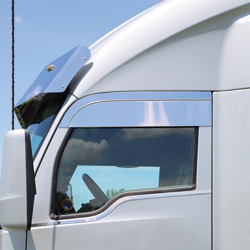 """Kenworth T680 & T880 8"""" Chopped Style Polished Top Of Door Trim"""