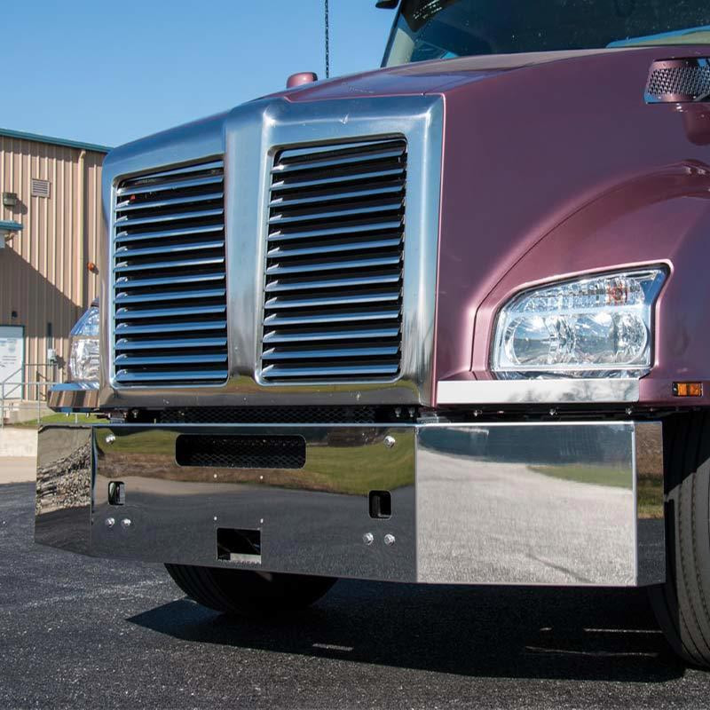 """Kenworth T880 18"""" 1 Piece Replacement Bumper With Tow Holes, Step, Plate Holes, And Upper Center Air Hole"""