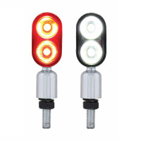 High Power 2 LED Hyper Mini Pedestal Light Amber Red White With Clear Lens