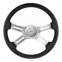 "18"" Black Classic Leather 4 Chrome Spoke Steering Wheel With Hub Included"