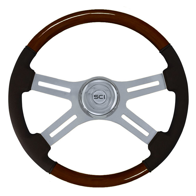 "18"" Classic Combo Wood & Leather 4 Chrome Spoke Steering Wheel"
