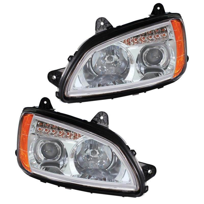kenworth t660 t700 chrome projection headlight with led accent strip raney 39 s truck parts. Black Bedroom Furniture Sets. Home Design Ideas