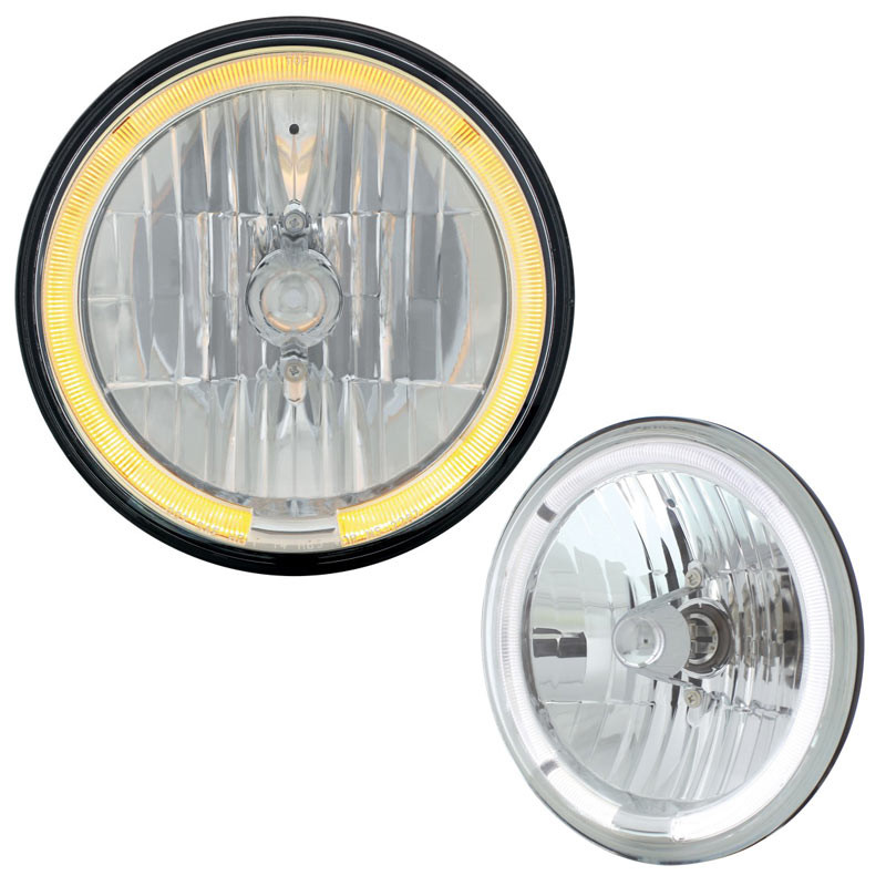 """7"""" Round Crystal Headlight With LED Halo Ring Amber & White"""