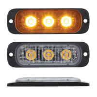 "3 High Power LED Super Thin 3/8"" Warning Light Amber"