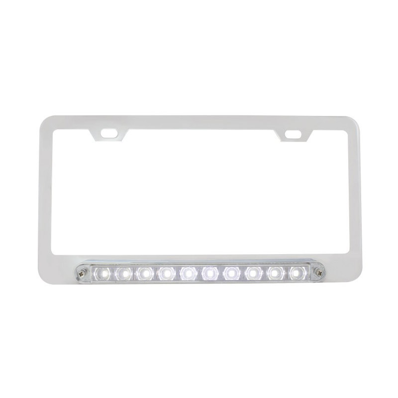 Chrome Deluxe License Plate Frame With 10 White LED 9\