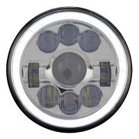 "7"" Round LED 1600 Lumen Projector Headlight With Halo Ring Lit"