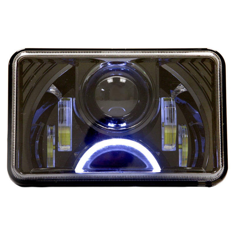 black 4 x 6 led projection headlights w half moon. Black Bedroom Furniture Sets. Home Design Ideas
