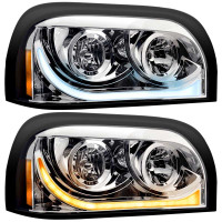 Freightliner Century Headlight Assembly W/ LED White Running / Amber Signal Light Driver & Passenger Side