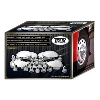 Trux Complete Stainless Hub Cap Kit With Chrome Lug Nut Covers