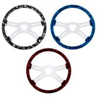 """18"""" Skull Steering Wheel With Hydro-dip Finish Wood Black, Blue, Red"""