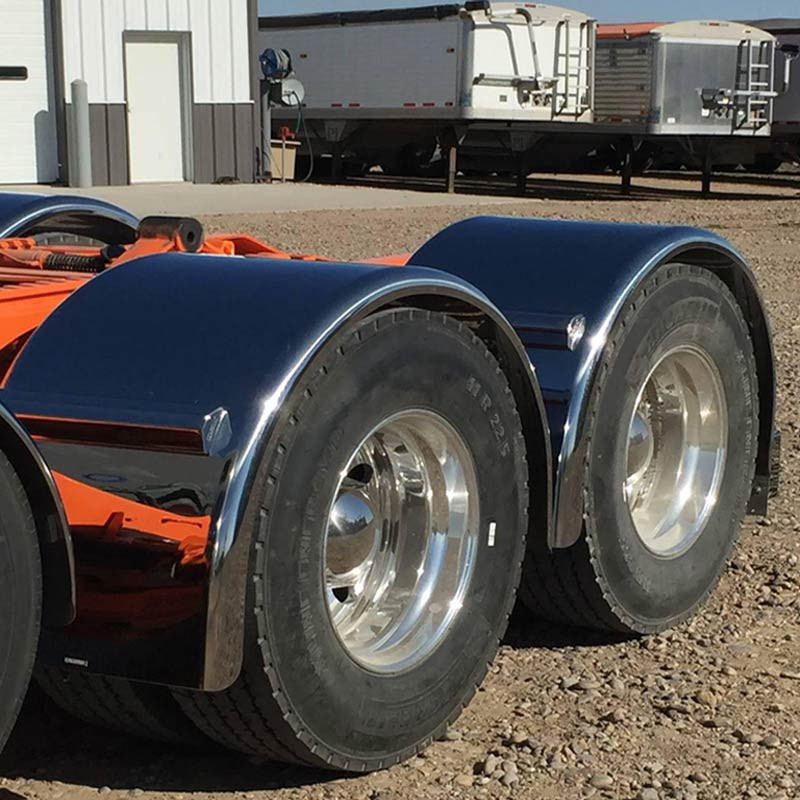 "Hogebuilt 90"" Stainless Steel Single Axle Lowrider Fenders Front Angled Close"