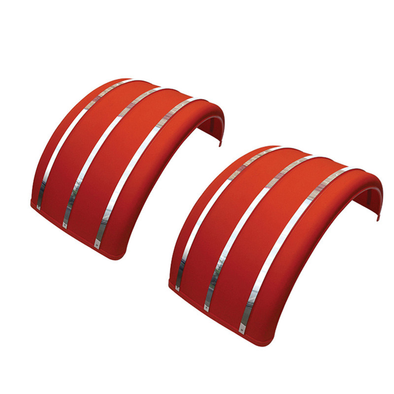 Single Arch Poly Fenders With Stainless Steel Inserts Red