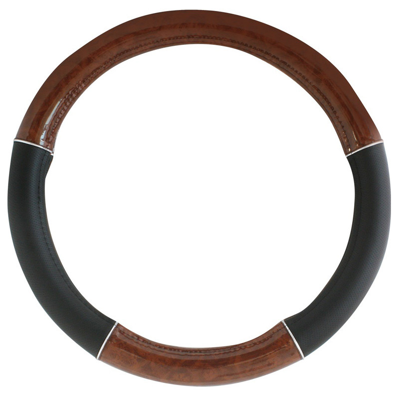 """18"""" Black and Wood Steering Wheel Cover By Grand General With Chrome Trim"""